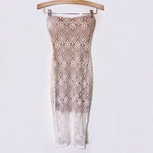 Dresses & Skirts - White & Nude Strapless Lace Dress
